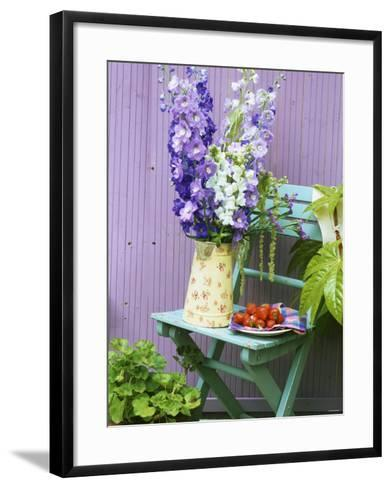 Garden Chair with Delphiniums and Plate of Strawberries-Linda Burgess-Framed Art Print