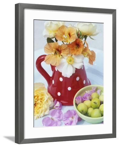 Flowers in Jug and a Bowl of Wild Apples-Linda Burgess-Framed Art Print