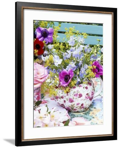 Anemones and Delphiniums in a Teapot-Linda Burgess-Framed Art Print