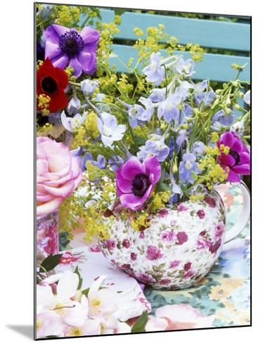 Anemones and Delphiniums in a Teapot-Linda Burgess-Mounted Photographic Print