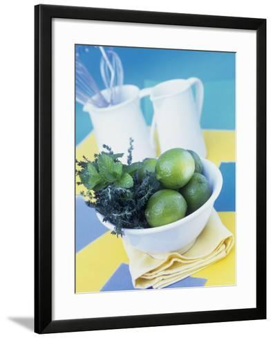 Limes, Mint and Thyme in a Bowl-Linda Burgess-Framed Art Print