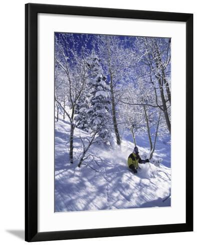 Side Profile of a Man Skiing--Framed Art Print
