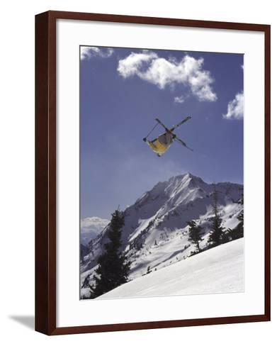 Low Angle View of a Skier in Mid Air--Framed Art Print