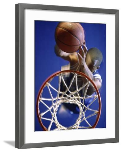 High Angle View of Person Shooting Hoops--Framed Art Print