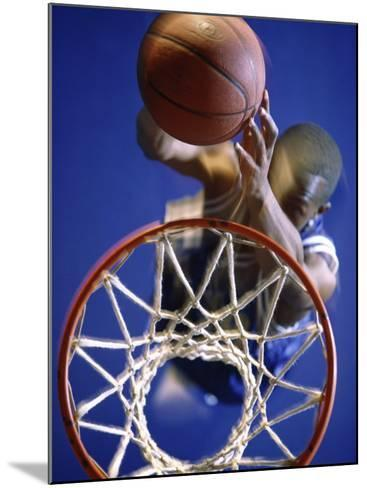 High Angle View of Person Shooting Hoops--Mounted Photographic Print