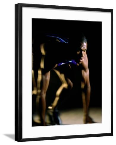 Close-up of a Track Runner in the Starting Position--Framed Art Print