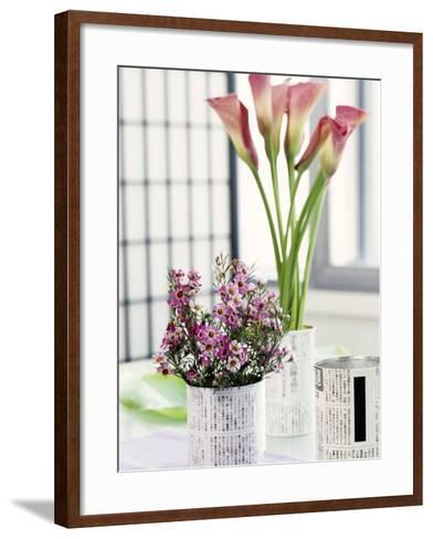 Still Life with Calla Lily and Geraldton Wax Flowers-Alena Hrbkova-Framed Art Print