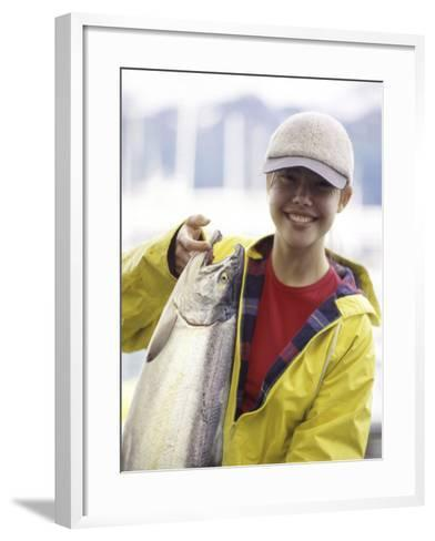 Teen Girl Holding a Fish--Framed Art Print