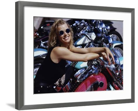 Smiling Blonde with Motorcycles--Framed Art Print