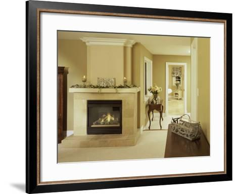 A Fire in the Fireplace and Candles on the Mantle--Framed Art Print