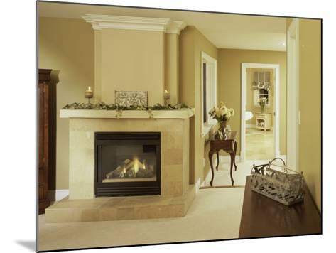 A Fire in the Fireplace and Candles on the Mantle--Mounted Photographic Print