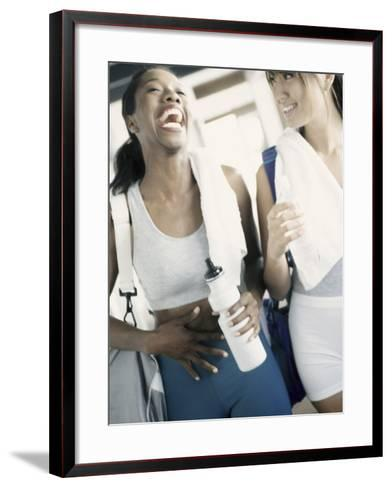 Two Young Women Laughing in a Health Club--Framed Art Print