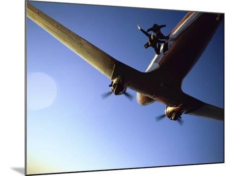 Dc-3 Airplane and Skydivers Zephyrhills, Florida, USA--Mounted Photographic Print