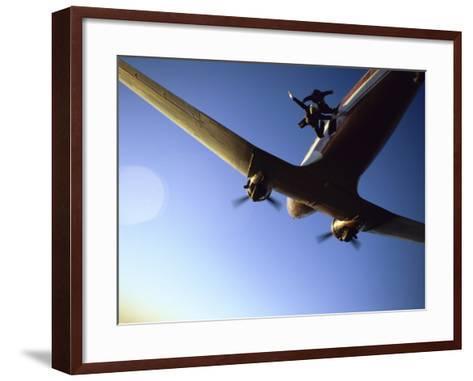 Dc-3 Airplane and Skydivers Zephyrhills, Florida, USA--Framed Art Print
