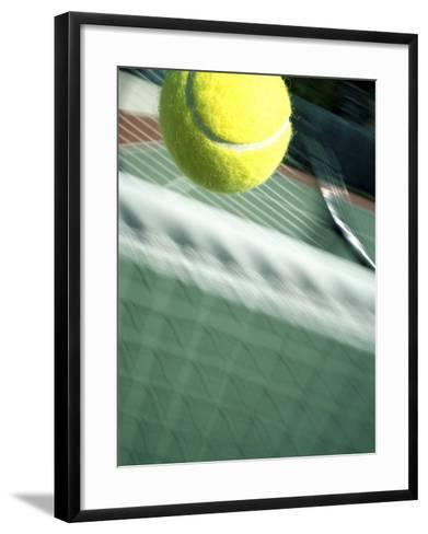 Tennis Racquet, Ball and Net--Framed Art Print