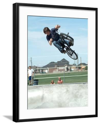 Performing a Bicycle Stunt--Framed Art Print