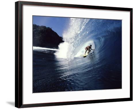 Surfer Riding a Wave--Framed Art Print