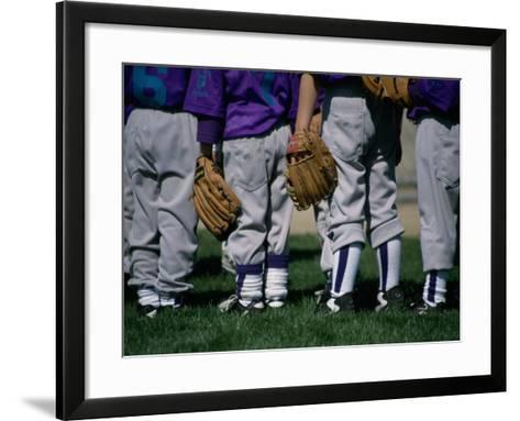 Rear View of a Little League Baseball Team Standing in a Row--Framed Art Print