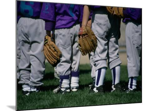 Rear View of a Little League Baseball Team Standing in a Row--Mounted Photographic Print