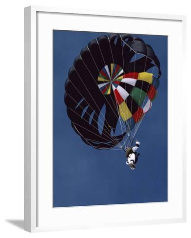 Skydiver with Parachute--Framed Art Print