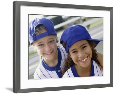 Portrait of Two Girls in Baseball Uniforms--Framed Art Print