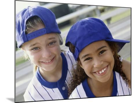 Portrait of Two Girls in Baseball Uniforms--Mounted Photographic Print