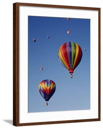 Colorful Hot Air Balloons in Sky, Albuquerque, New Mexico, USA--Framed Art Print