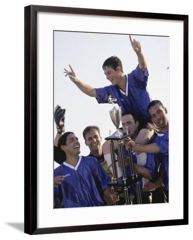 Soccer Team with Trophy--Framed Art Print
