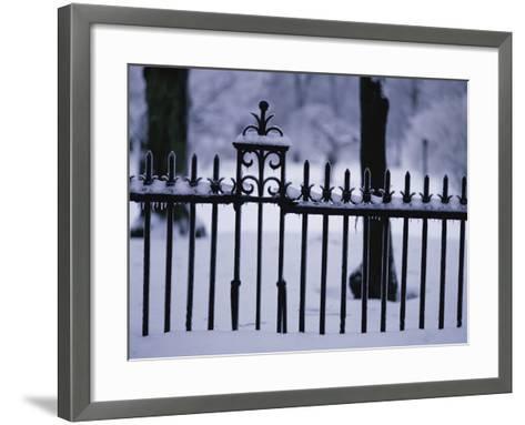 Metal Fence in a Snow Covered Landscape--Framed Art Print