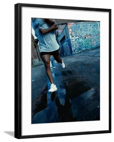Man Jogging in the City--Framed Art Print
