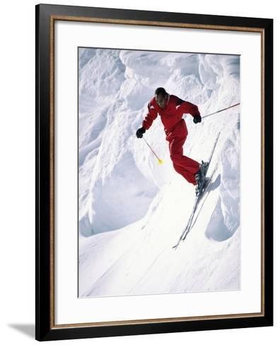 African-American Skier in Red--Framed Art Print