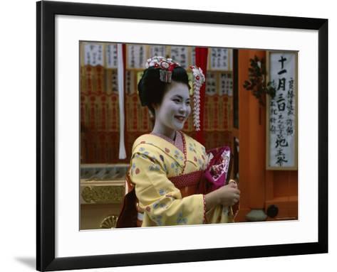 Apprentice Geisha (Maiko), Woman Dressed in Traditional Costume, Kimono, Kyoto, Honshu, Japan--Framed Art Print
