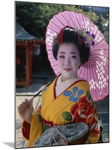 Apprentice Geisha (Maiko), Woman Dressed in Traditional Costume, Kimono, Kyoto, Honshu, Japan--Mounted Photographic Print
