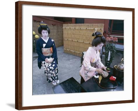 Apprentice Geisha (Maiko) Performing Tea Ceremony, Tokyo, Honshu, Japan--Framed Art Print