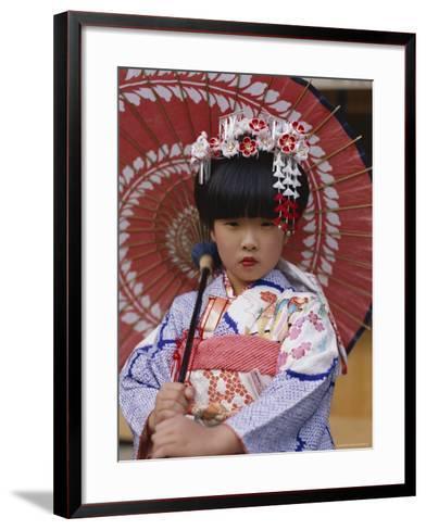Girl Dressed in Kimono, Shichi-Go-San Festival (Festival for Three, Five, Seven Year Old Children)--Framed Art Print