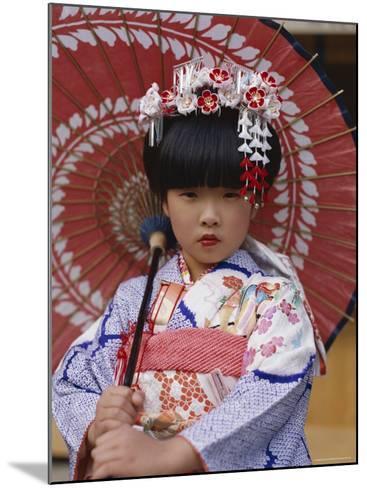 Girl Dressed in Kimono, Shichi-Go-San Festival (Festival for Three, Five, Seven Year Old Children)--Mounted Photographic Print