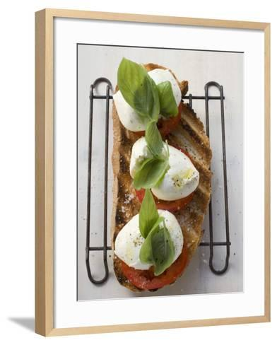 Tomatoes, Mozzarella and Basil on Toasted Bread--Framed Art Print