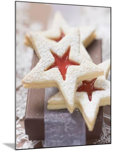 Star-Shaped Jam Biscuits with Icing Sugar (Christmas)--Mounted Photographic Print