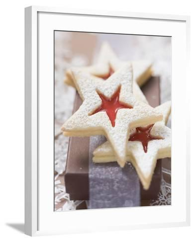 Star-Shaped Jam Biscuits with Icing Sugar (Christmas)--Framed Art Print