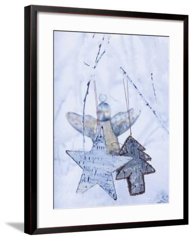 Stars and Silver Angel on Snowy Branch--Framed Art Print