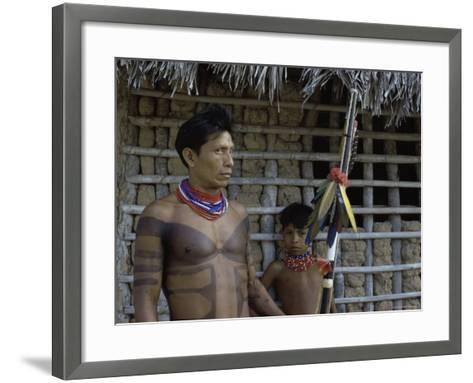Tapirape Indian Chief and Son, Brazil--Framed Art Print