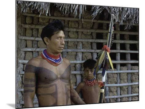 Tapirape Indian Chief and Son, Brazil--Mounted Photographic Print