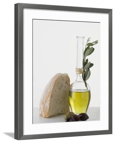 Olive Oil in Carafe, Olives and Piece of White Bread--Framed Art Print