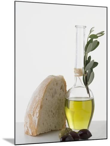 Olive Oil in Carafe, Olives and Piece of White Bread--Mounted Photographic Print