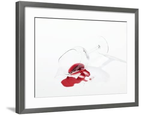 Broken Wine Glass with Spilt Red Wine--Framed Art Print