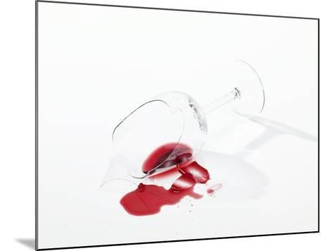 Broken Wine Glass with Spilt Red Wine--Mounted Photographic Print