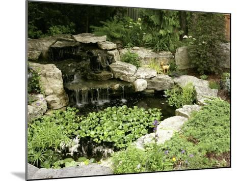 Garden Pond with Waterfall--Mounted Photographic Print