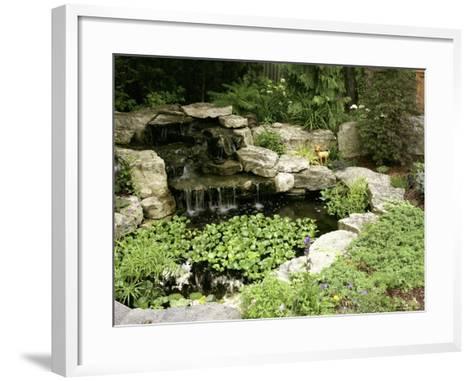 Garden Pond with Waterfall--Framed Art Print