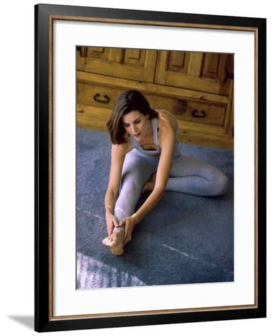 Young Woman Stretching on the Floor--Framed Art Print