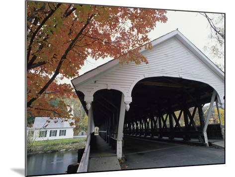 White Covered Bridge in Autumn--Mounted Photographic Print